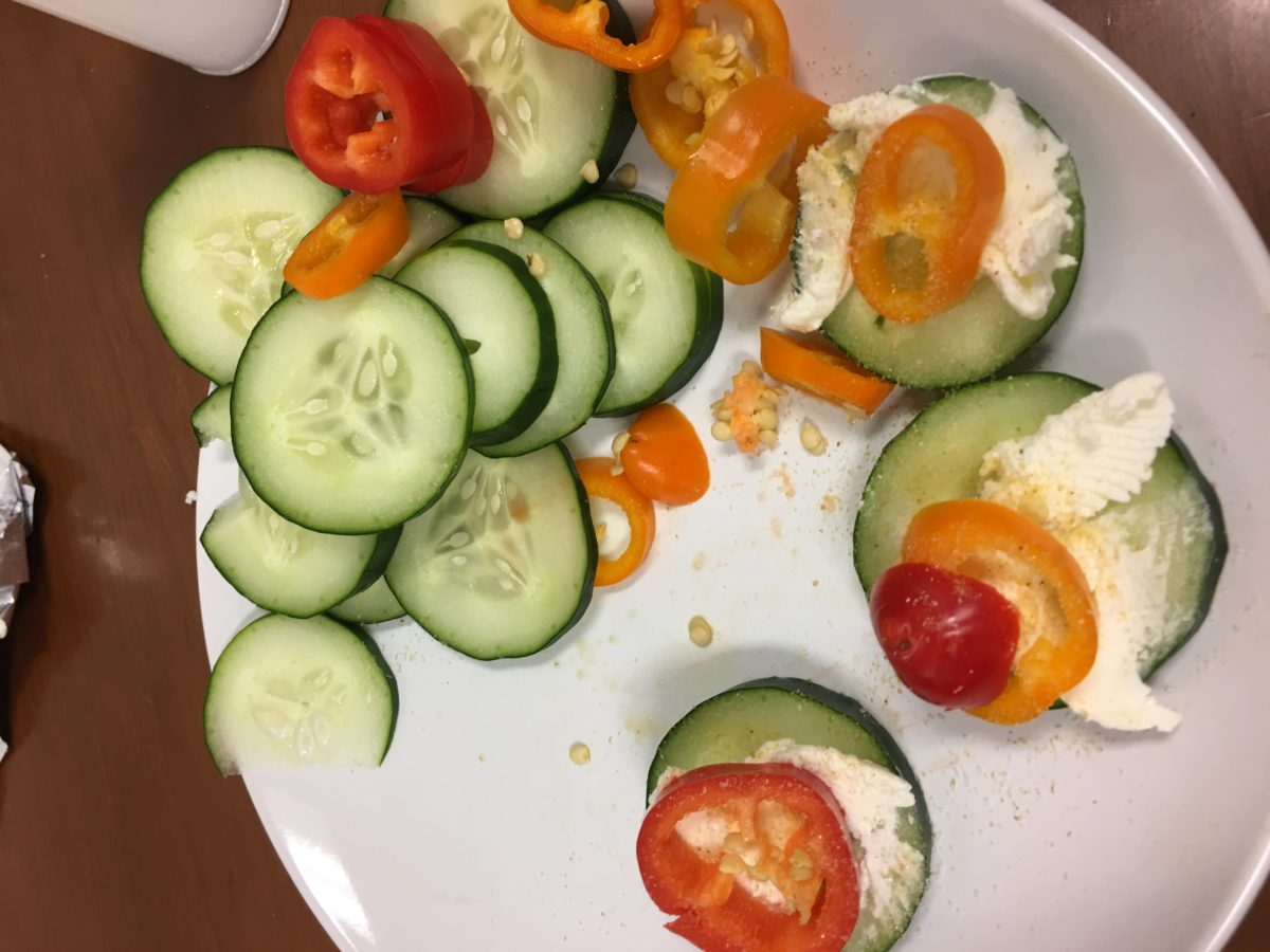 Cream Cheese, Cucumber, and Pepper Snacks