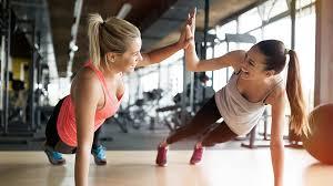 Partner workout, push up high 5